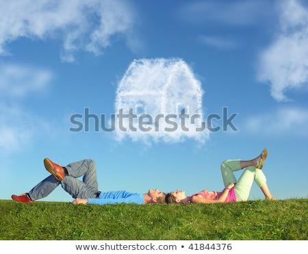 Foto stock: Mentiras · hierba · nino · sueno · nube
