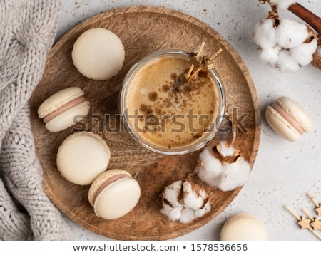 кофе macaron Cookies утра таблице женщины Сток-фото © stevanovicigor