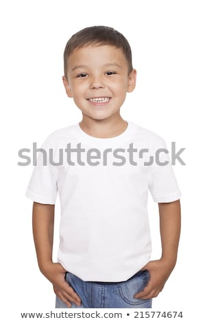 Boy in Red and Black T-Shirt Laughing Joyfully Stock photo © ozgur