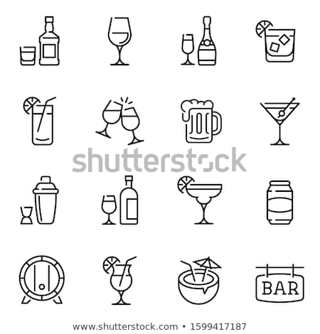 glass with drinking straw and umbrella line icon stock photo © rastudio