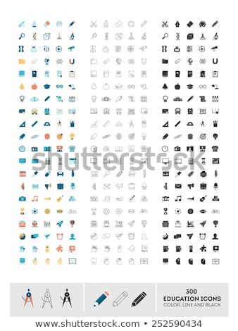 Flat Line Colorful School Subjects Icons Stock photo © vectorikart