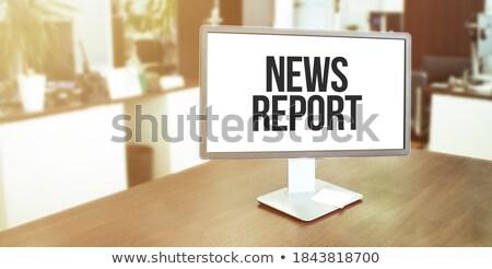 Informe palabra oficina herramientas mesa de madera escuela Foto stock © fuzzbones0