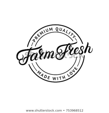 Bauernhof frische Lebensmittel Label Illustration Lächeln glücklich Stock foto © bluering