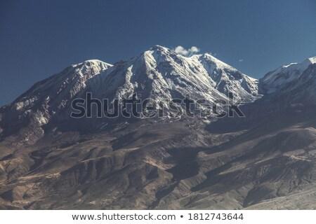 Ver vulcão cidade Peru nublado Foto stock © jirivondrous