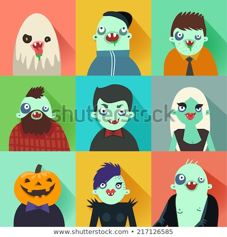 Halloween color icons with long shadow Stock photo © punsayaporn