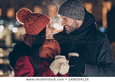 sevimli · kadın · içme · kahve · gece · yarısı · seksi - stok fotoğraf © konradbak