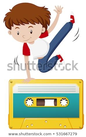 boy doing hiphop on tape casette stock photo © bluering