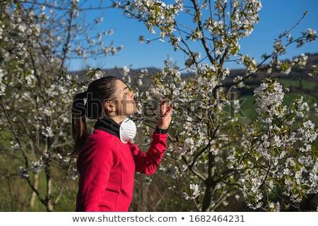 tavasz · portré · nő · fenséges · kék · szemek · kéz - stock fotó © giulio_fornasar
