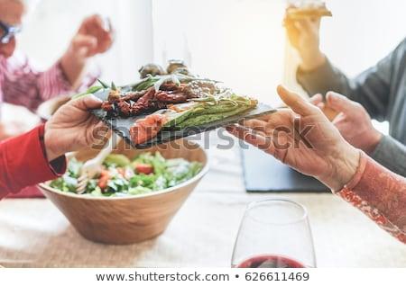 Stok fotoğraf: Kıdemli · kadın · yeme · taze · salata · mutlu