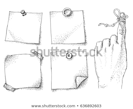 reminder string on finger and paper stickers stock photo © natalia_1947