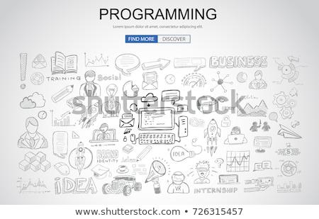 promoteur · programmation · demande · icônes · vecteur - photo stock © davidarts