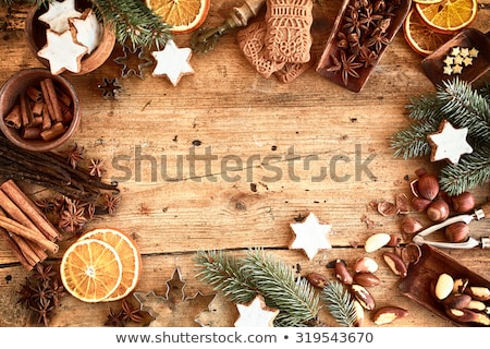 Overhead view of Christmas decoration with spice Stock photo © wavebreak_media