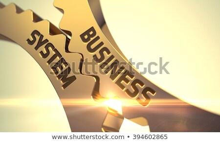 business system on the golden metallic cog gears stock photo © tashatuvango