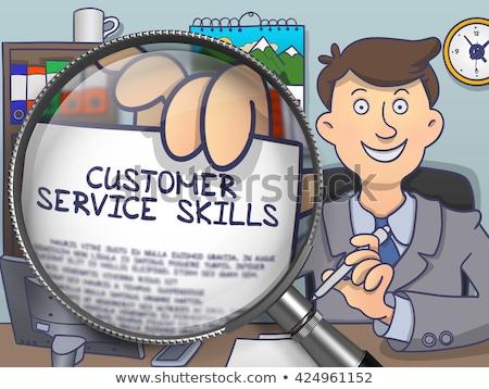 Negócio habilidades lupa rabisco papel mão Foto stock © tashatuvango
