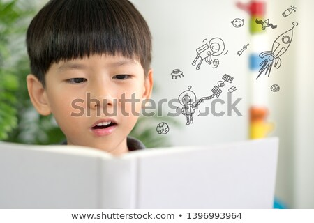 Kid ragazzo leggere spazio esterno libro illustrazione Foto d'archivio © lenm