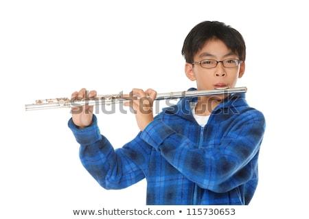 ázsiai kicsi fiú játszik furulya teljes alakos Stock fotó © RAStudio