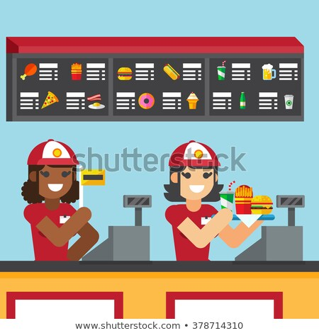 Waitress woman holding food tray with burger, fries and drink cartoon vector illustration Stock photo © jeff_hobrath