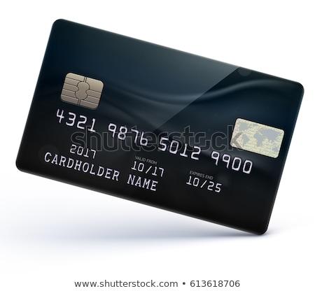 cartão · de · crédito · feliz · loiro · mulher · foco - foto stock © mtoome
