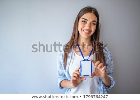 Los trabajadores de oficina nombre etiquetas mujer traje conferencia Foto stock © IS2
