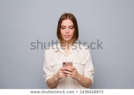 深刻 トレンディー 若い女性 携帯 携帯電話 キッチン ストックフォト © Giulio_Fornasar