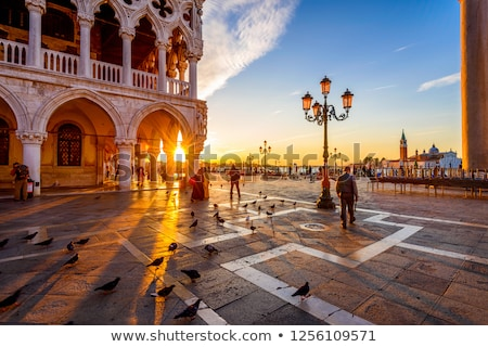 Nascer do sol praça Veneza edifício pôr do sol arte Foto stock © Givaga