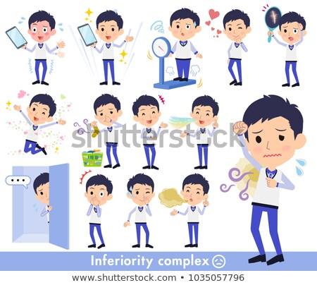 Store staff Blue uniform men_complex Stock photo © toyotoyo
