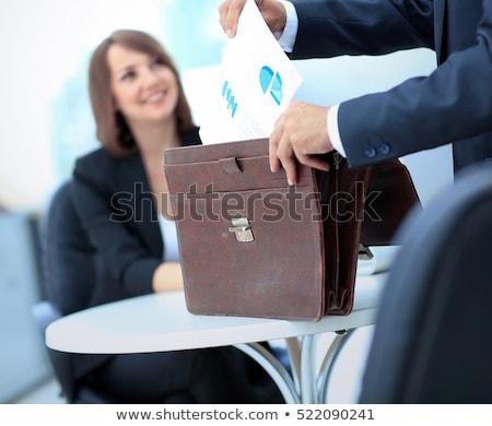 Mooie vrouwelijke manager aktetas geïsoleerd Stockfoto © Minervastock