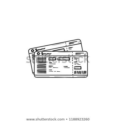 Stock fotó: Busz · jegyek · kézzel · rajzolt · skicc · firka · ikon