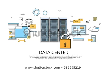 Data center cloud computer, connection hosting, server database. Flat vector illustration Stock photo © makyzz
