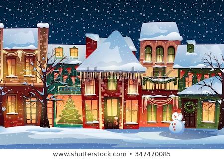 村 クリスマス カバー 雪 青空 青 ストックフォト © liolle