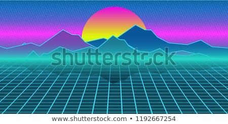 Cyberpunk retro computer background. Mountains, plain and sun Stock photo © studiostoks