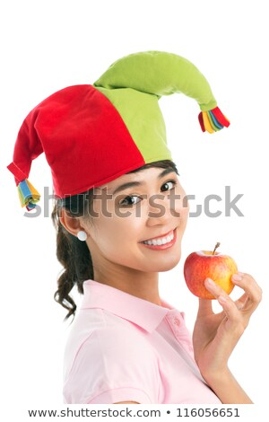 Playful woman wearing jester Stock photo © acidgrey