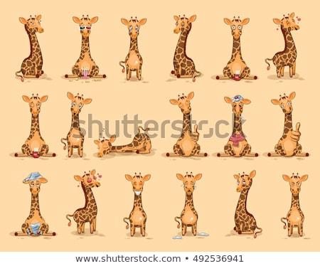 Cartoon giraffe boos illustratie naar Stockfoto © cthoman