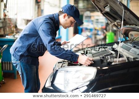 mecânico · trabalhando · carro · sorridente · homem · retrato - foto stock © minervastock