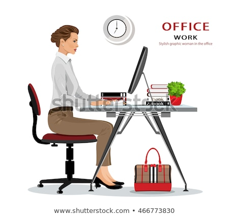 office chair and laptop set vector illustration stock photo © robuart