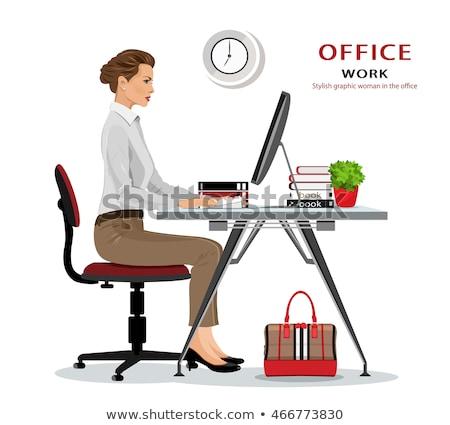 Bureaustoel laptop ingesteld schaar bericht Stockfoto © robuart