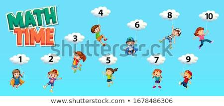 número · dez · ilustração · papel · crianças · escolas - foto stock © colematt