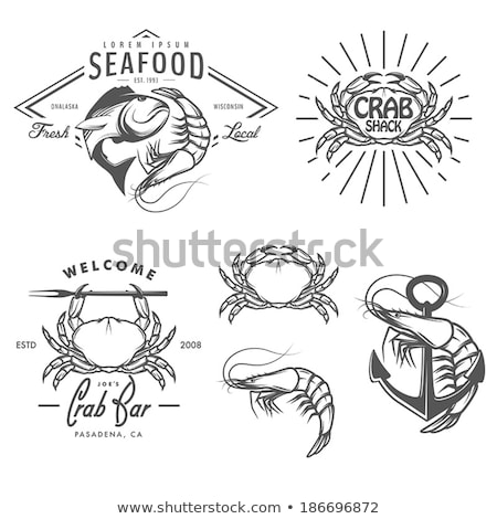 monochrome icon set for seafood restaurant poster stock photo © robuart