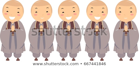 Crianças meninos budista ilustração uniforme mãos Foto stock © lenm