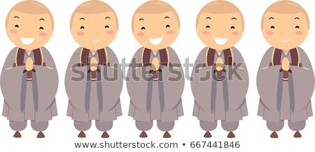Stickman Kids Boys Korean Buddhist Illustration Stock photo © lenm