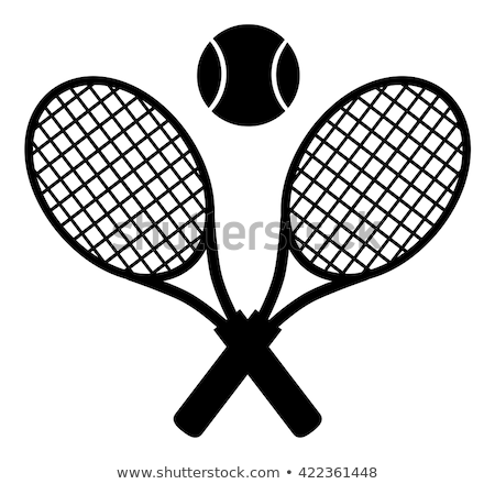 Crossed Racket And Tennis Ball Logo Design Label. Stock photo © hittoon