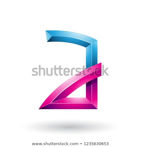 Blue and Magenta Embossed Letter A with Bended Joints Vector Ill Stock photo © cidepix