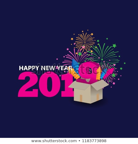 happy new year 2019   flat design style illustration stock photo © decorwithme