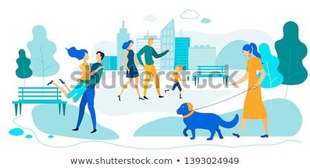 Menschen Park Mann Fuß Hund Mutter Stock foto © robuart