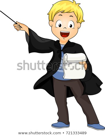Kid Boy Wizard Costume Manuscript Illustration Stock photo © lenm