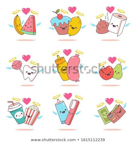 Valentines day background, two funny smiling bananas, vector illustration. Stock photo © ikopylov