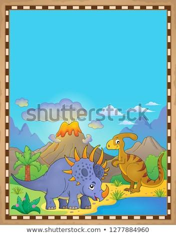 Сток-фото: динозавр · пергаменте · бумаги · природы · горные · искусства