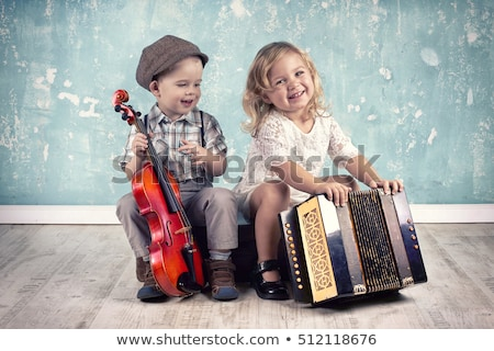 Meisje spelen accordeon illustratie student achtergrond Stockfoto © colematt