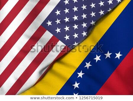Kettő integet zászlók Egyesült Államok Venezuela izolált Stock fotó © MikhailMishchenko