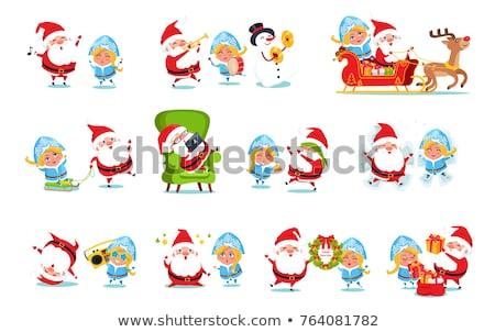 Christmas Holidays Pine Tree and Snow Maiden Woman Stock photo © robuart